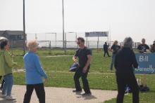 World T'ai Chi & Qigong Day; Shorefront Park, Patchogue NY (April 29, 2017):  Bill Donnelly (C in t-shirt), Green Cloud Kung Fu, has now been with us 12 times since 2001. Here he is this year introducing the morning's participants to a series of drills entered into through what is commonly known as the Yin / Yang Symbol, a.k.a., T'ai Chi Symbol or Tai Chi Tu (Taiji tu).
