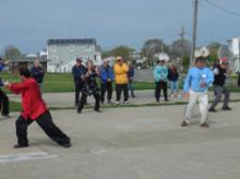 World T'ai Chi & Qigong Day; Shorefront Park, Patchogue NY (April 29, 2017): The variety of the approaches to the art of T'ai Chi Ch'uan is made quite evident as the annual Facilitators' Demonstration unfolds. (L to R — some partial only) Bill Donnelly (Green Cloud Kung Fu), Joseph Panico (West Babylon), Judith Budd-Walsh (Harmonious Movement), Jean Klein (Long Island School of T'ai-Chi-Chuan), Bob Klein (Long Island School of T'ai-Chi-Chuan), and Elan Abneri (Zhang Style Tai Chi Chuan). Not pictured are Spencer Gee (Spencer Gee Wellness Corporation), Laurince McElroy (Water Tiger School of T'ai Chi Ch'uan), and Joel Valerio (Ozone Park).